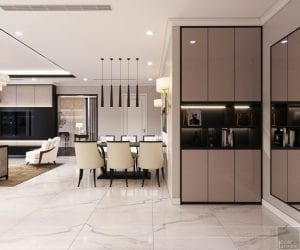 phong cách thiết kế hiện đại châu âu luxury 6 - phòng khách bếp 2