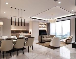 phong cách thiết kế hiện đại châu âu luxury 6 - phòng khách bếp 7