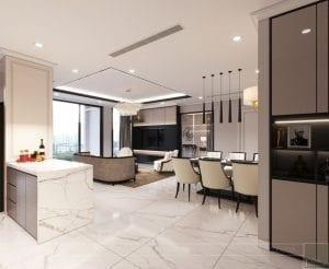 phong cách thiết kế hiện đại châu âu luxury 6 - phòng khách bếp 1