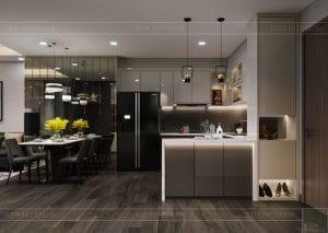 thiết kế park 6 vinhomes central park - phòng khách bếp 4