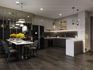 thiết kế park 6 vinhomes central park - phòng khách bếp 5
