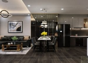 thiết kế park 6 vinhomes central park - phòng khách bếp 6