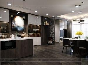 thiết kế park 6 vinhomes central park - phòng khách bếp 8