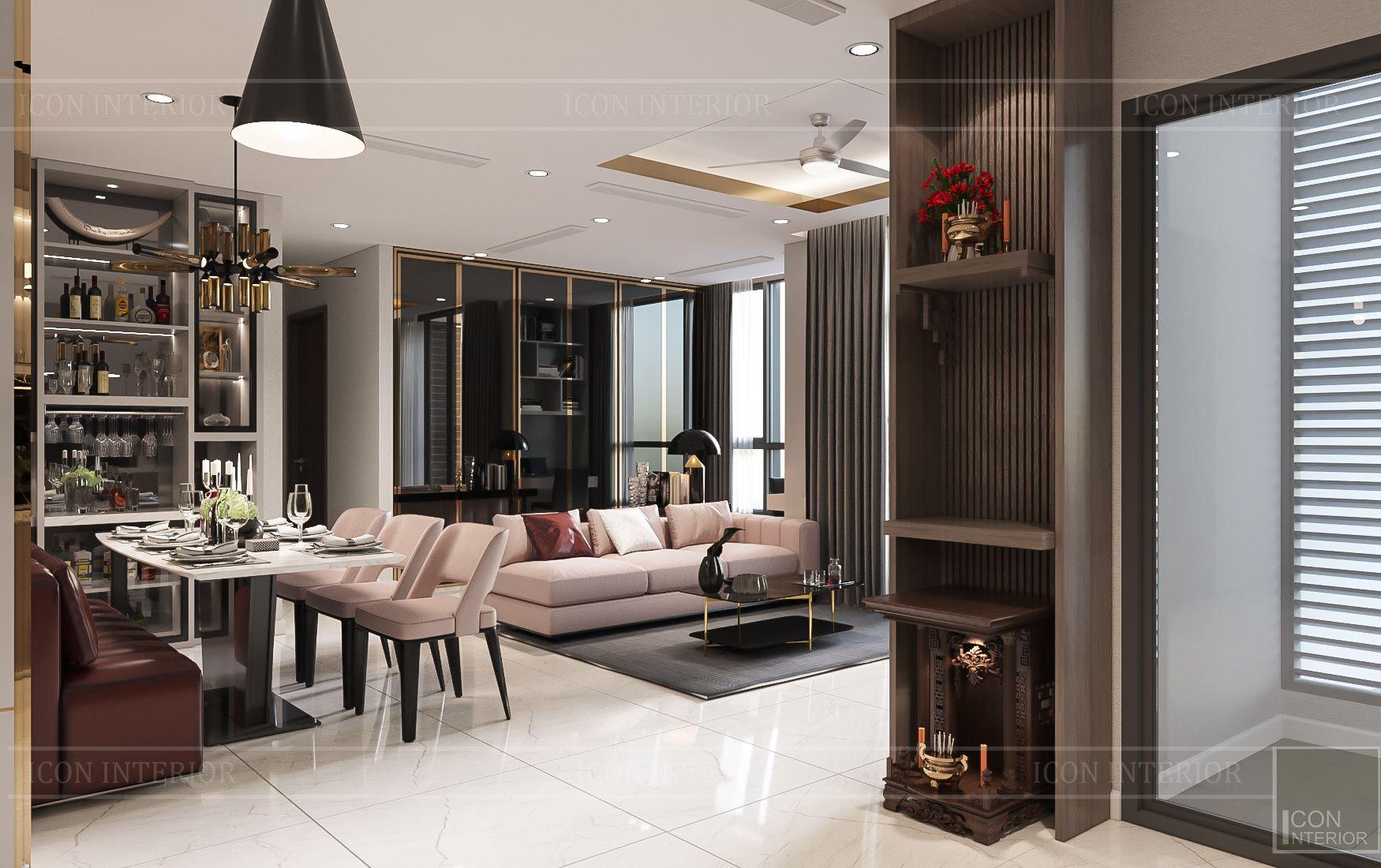 thiết kế nhà phong cách hiện đại - phòng khách bếp 4