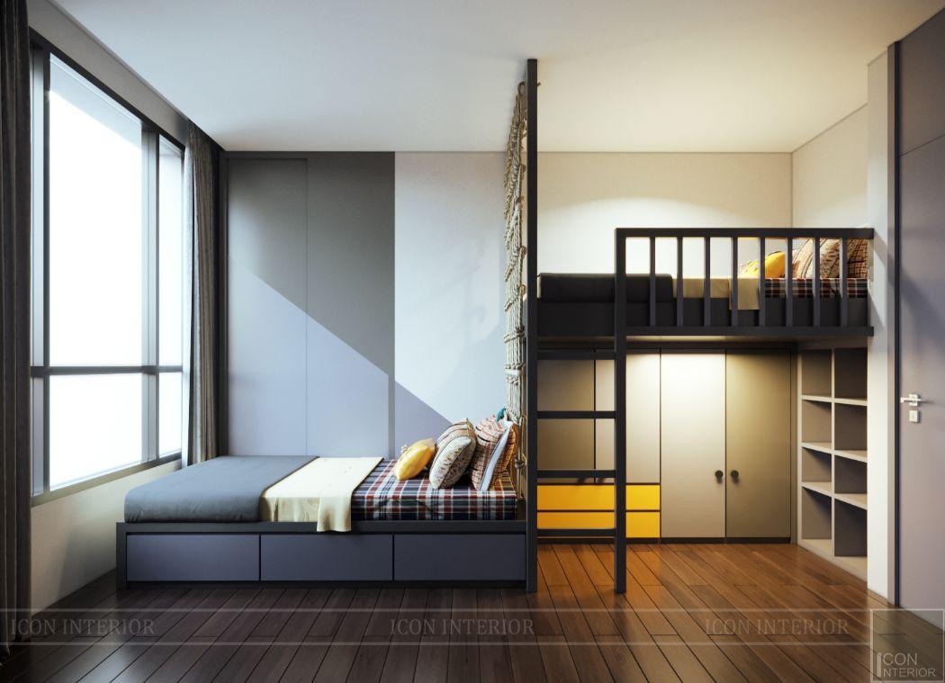 thiết kế nội thất phòng ngủ bé liền kề