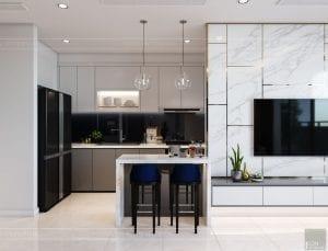 nội thất nhà ở theo phong cách hiện đại - phòng khách bếp 6