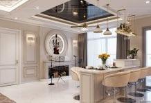thiết kế nội thất tân cổ điển đẹp - phòng khách bếp 8