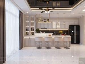 thiết kế nội thất tân cổ điển đẹp - phòng khách bếp 9