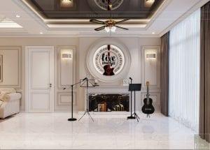 thiết kế nội thất tân cổ điển đẹp - phòng khách bếp 10