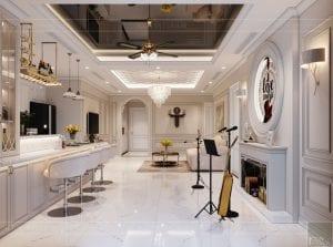 thiết kế nội thất tân cổ điển đẹp - phòng khách bếp 11
