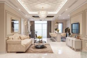 thiết kế nội thất tân cổ điển đẹp - phòng khách bếp 3