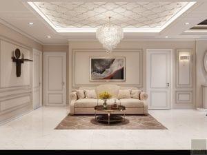 thiết kế nội thất tân cổ điển đẹp - phòng khách bếp 4