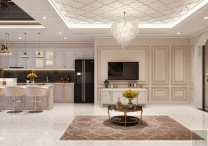 thiết kế nội thất tân cổ điển đẹp - phòng khách bếp 5