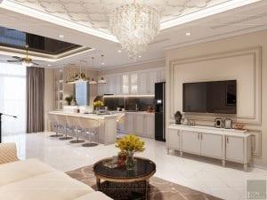 thiết kế nội thất tân cổ điển đẹp - phòng khách bếp 6