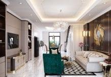 mẫu thiết kế nội thất biệt thự - phòng khách 2