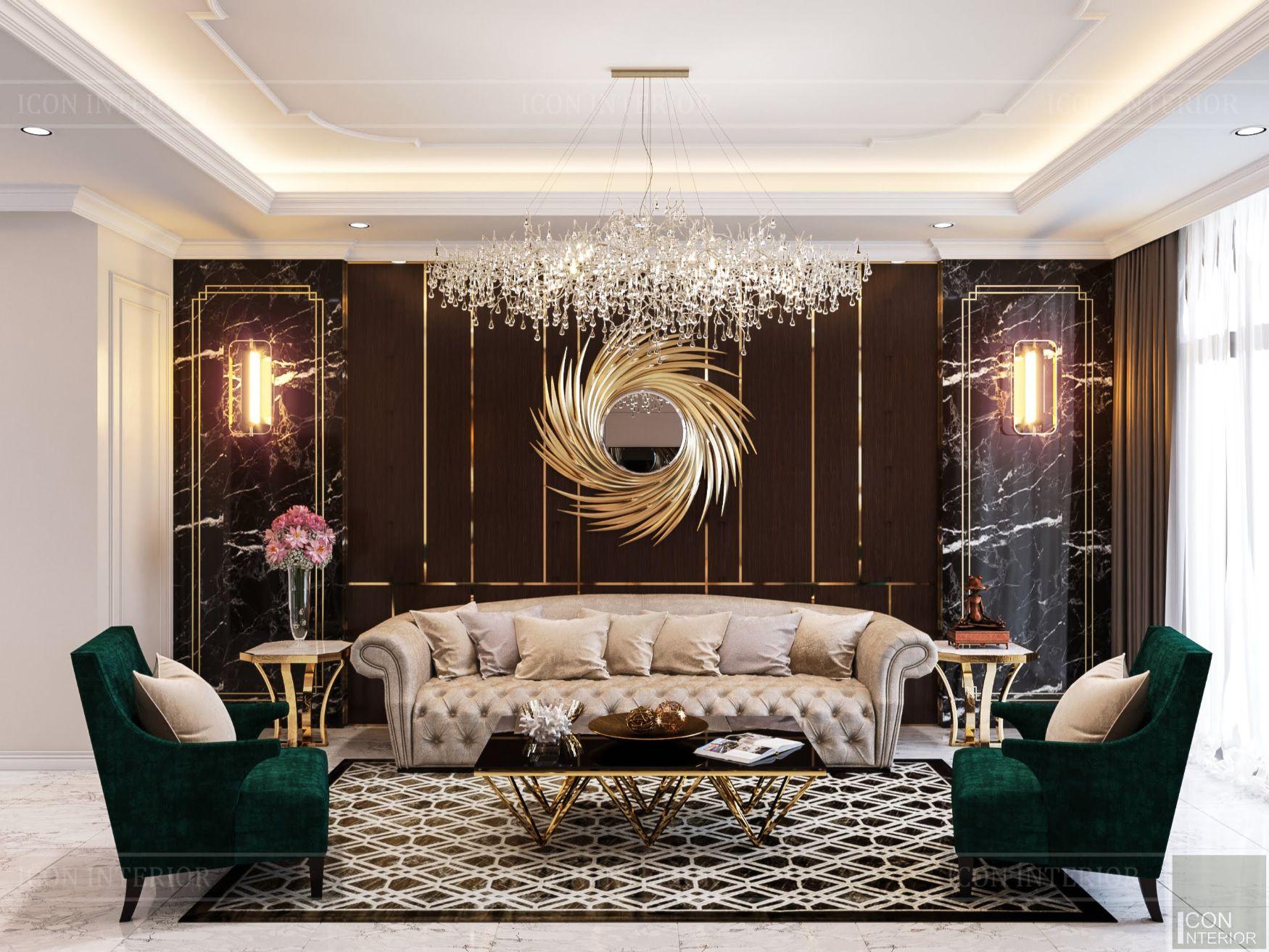 mẫu thiết kế nội thất biệt thự - phòng khách 4