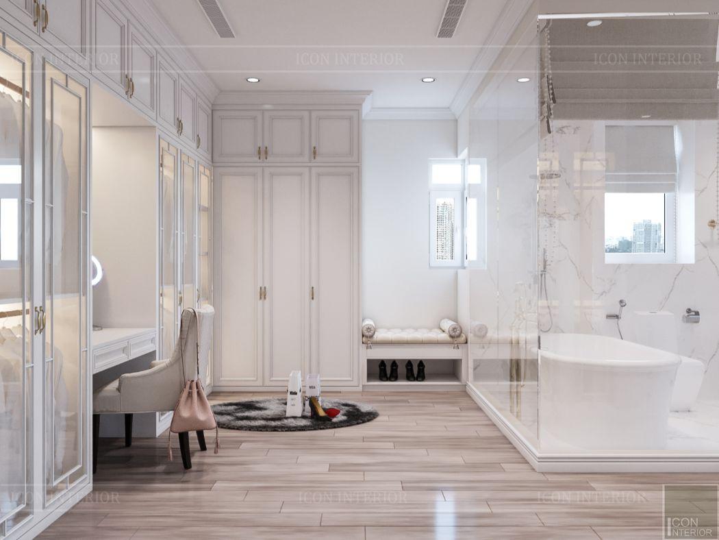 thiết kế căn hộ 2 phòng ngủ - phòng thay đồ