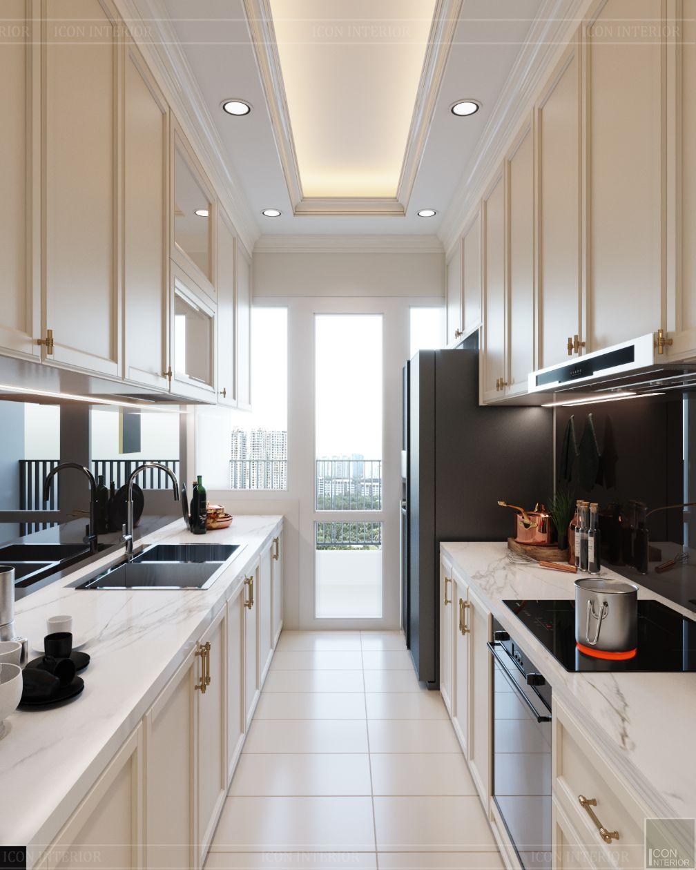 thiết kế căn hộ 2 phòng ngủ - phòng bếp