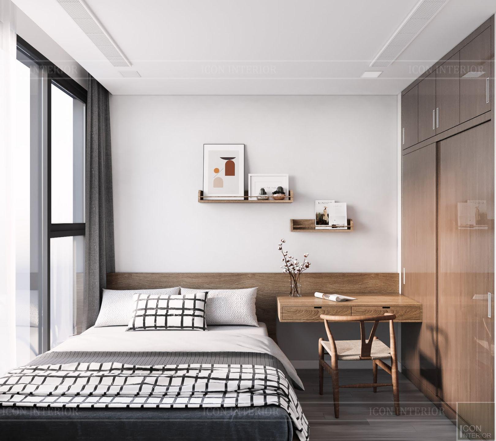 Thiết kế nội thất chung cư 2 phòng ngủ Vinhomes Bason - phòng ngủ