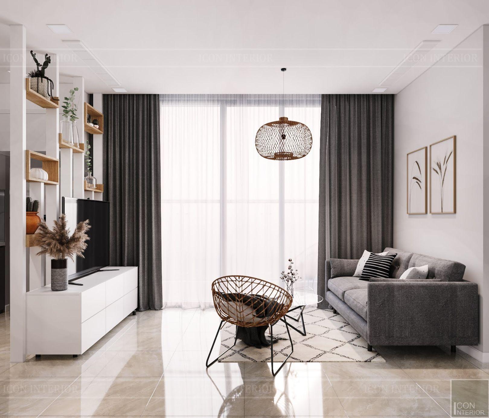 Thiết kế nội thất chung cư 2 phòng ngủ Vinhomes Bason - phòng khách