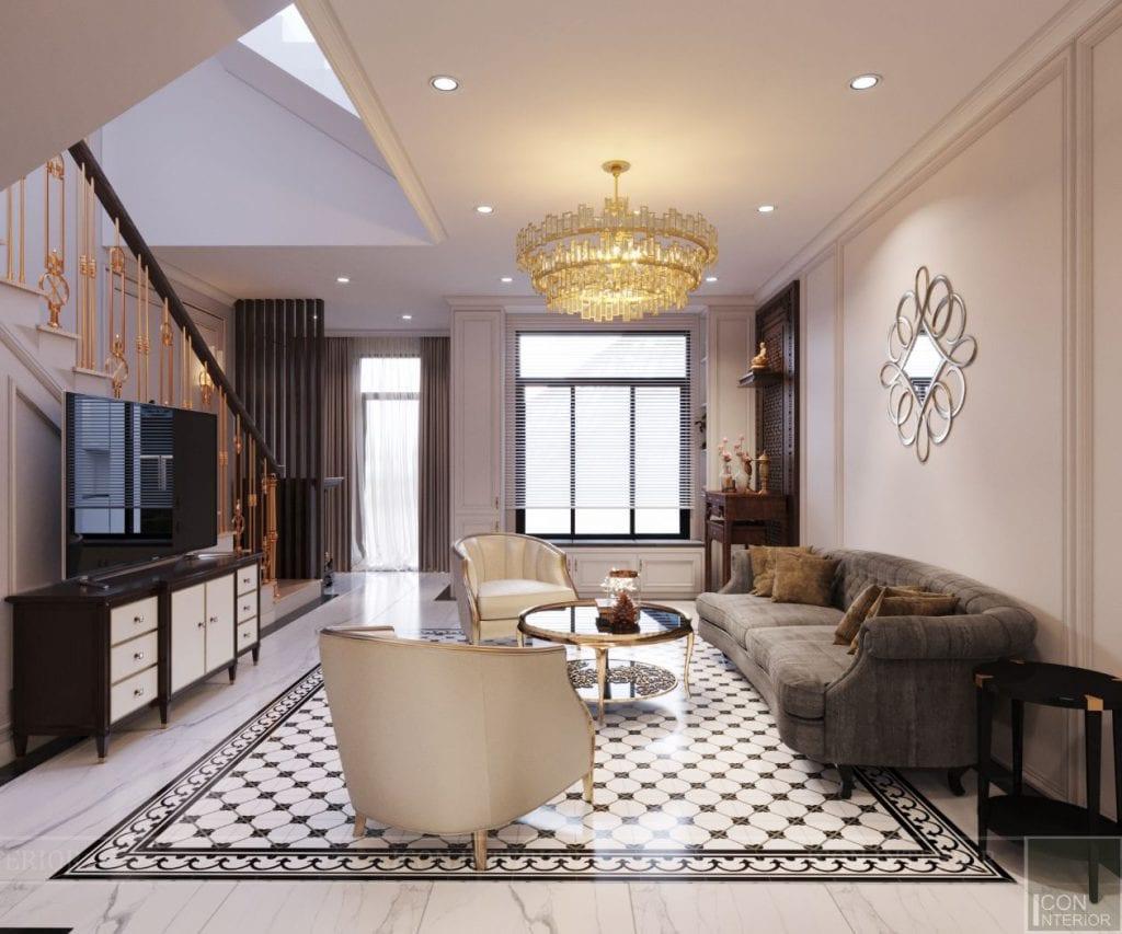thiết kế biệt thự lavila nam sài gòn - phòng khách bếp 1