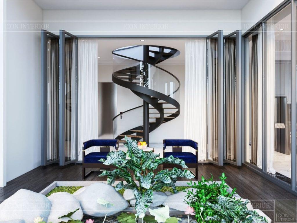 thiết kế nội thất biệt thự sân vườn - cầu thang