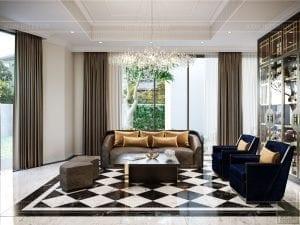 thiết kế nội thất biệt thự sân vườn - phòng khách 2