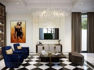 thiết kế nội thất biệt thự sân vườn - phòng khách 3