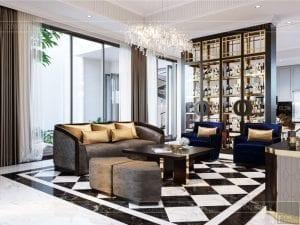thiết kế nội thất biệt thự sân vườn - phòng khách 4