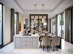 thiết kế nội thất biệt thự sân vườn - phòng bếp