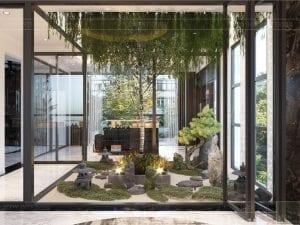 thiết kế nội thất biệt thự sân vườn - giếng trời 2