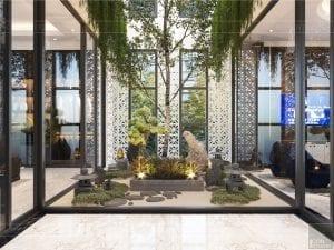 thiết kế nội thất biệt thự sân vườn - giếng trời 1