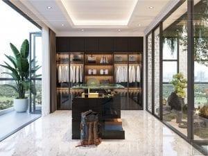 thiết kế nội thất biệt thự sân vườn - phòng thay đồ 1