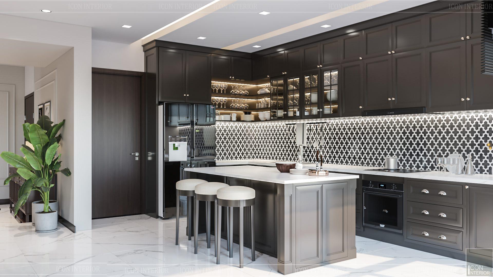 thiết kế căn hộ đập thông - đảo bếp