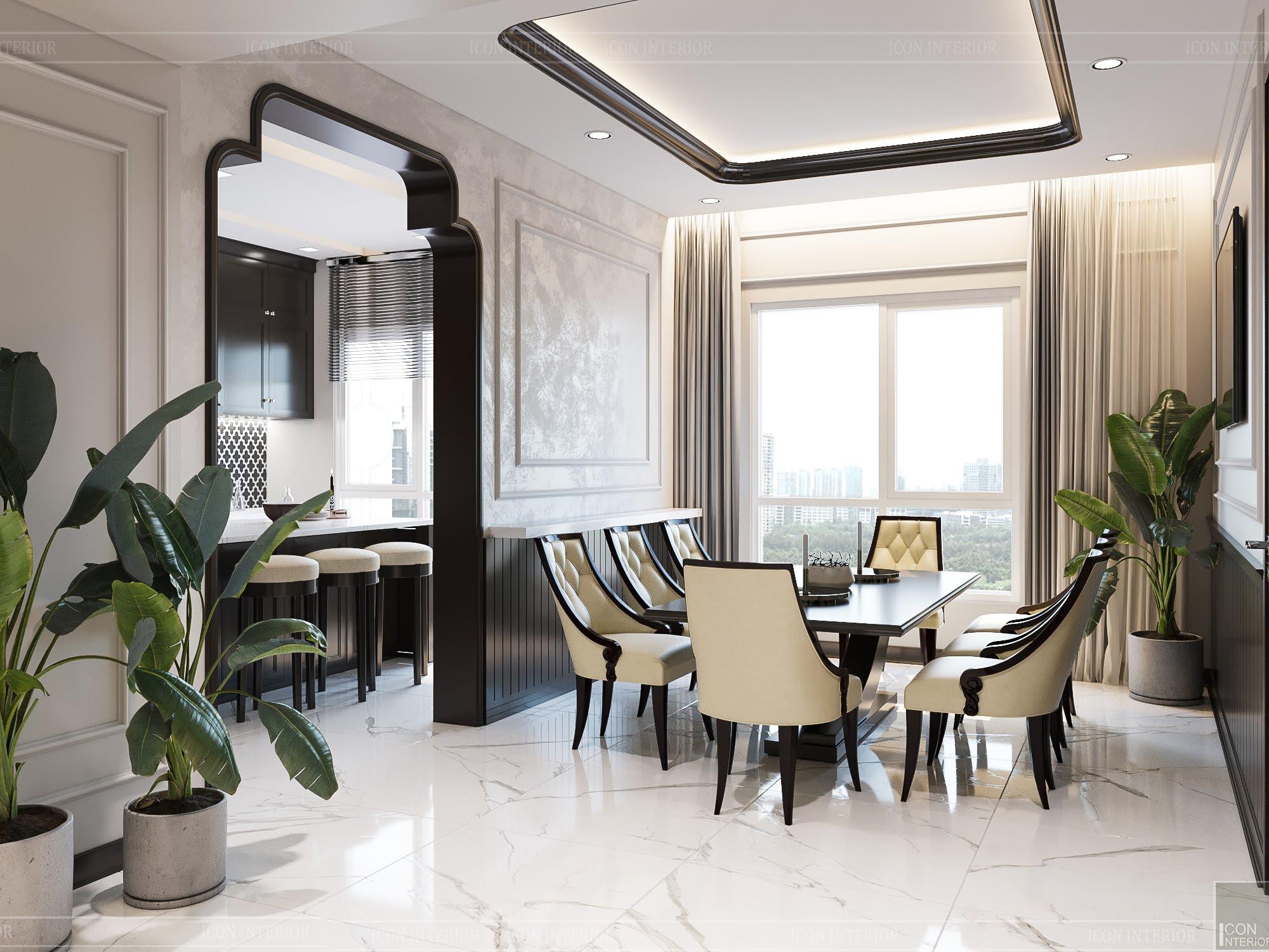 thiết kế căn hộ đập thông - phòng ăn