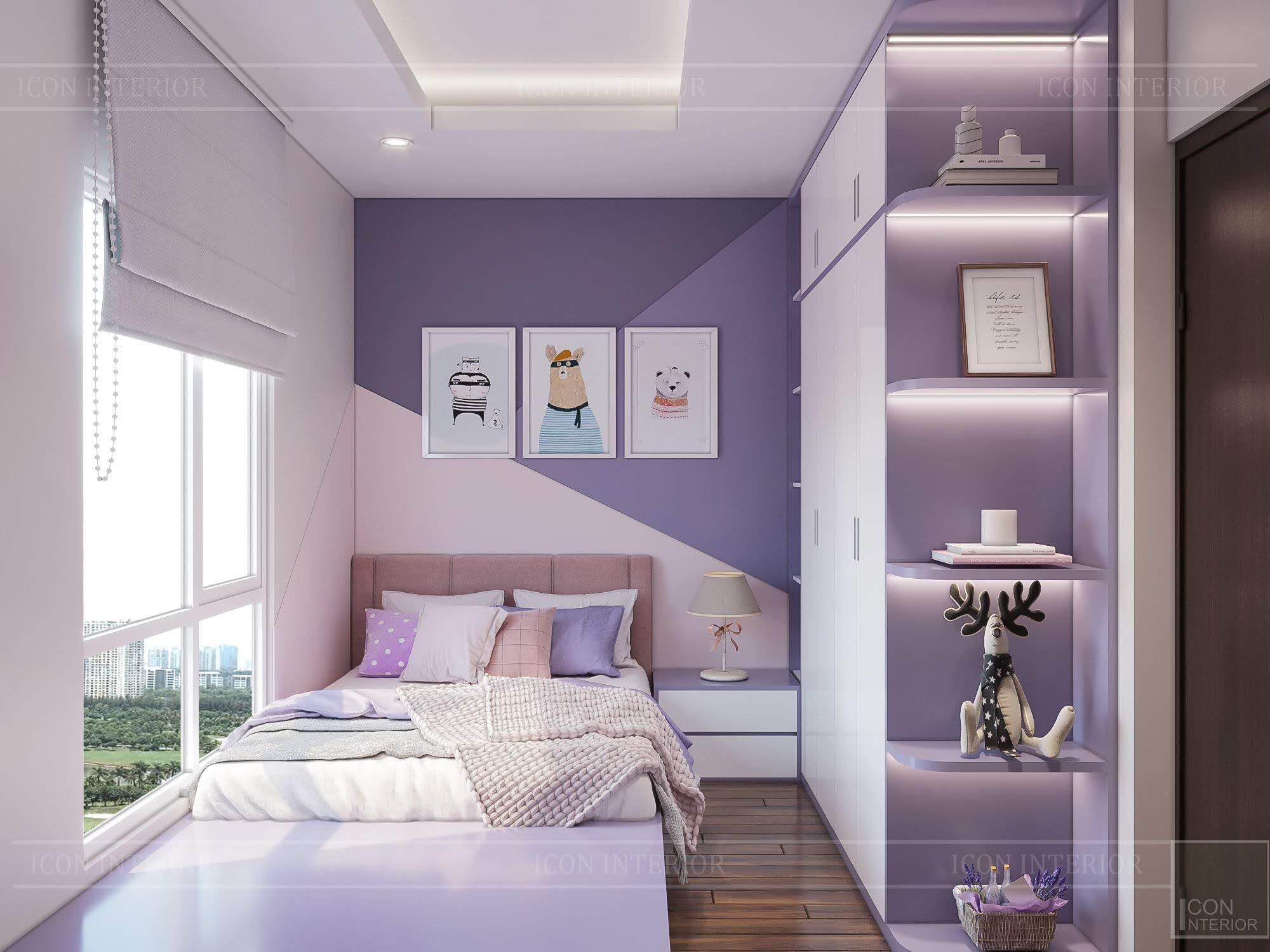 thiết kế căn hộ đập thông - phòng ngủ bé gái