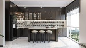 thiết kế căn hộ đập thông - quầy bar