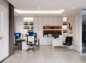 thiết kế nội thất nhà phố tân cổ điển - không gian làm việc