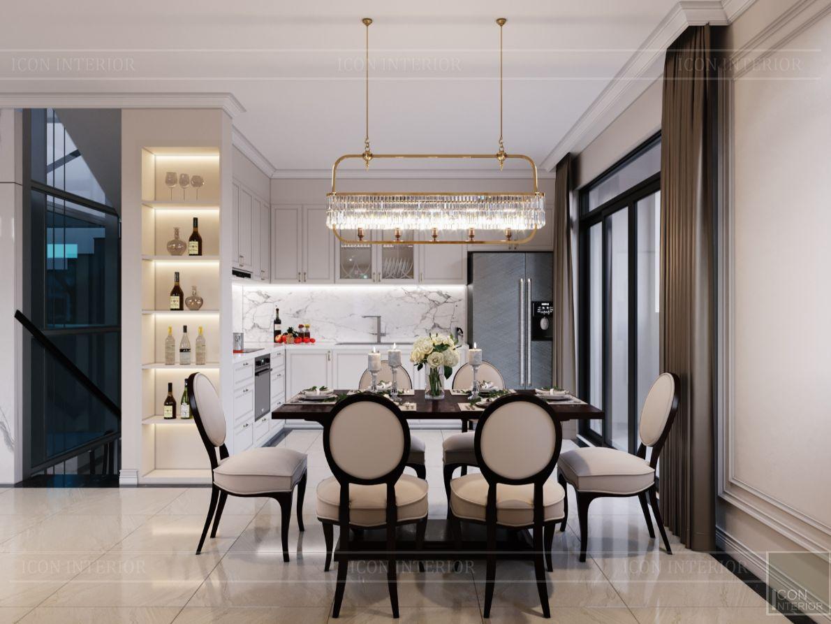 thiết kế nội thất nhà phố tân cổ điển - phòng ăn