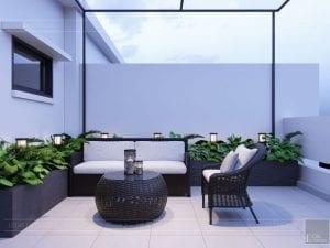 thiết kế nội thất nhà phố tân cổ điển - sân thượng 2