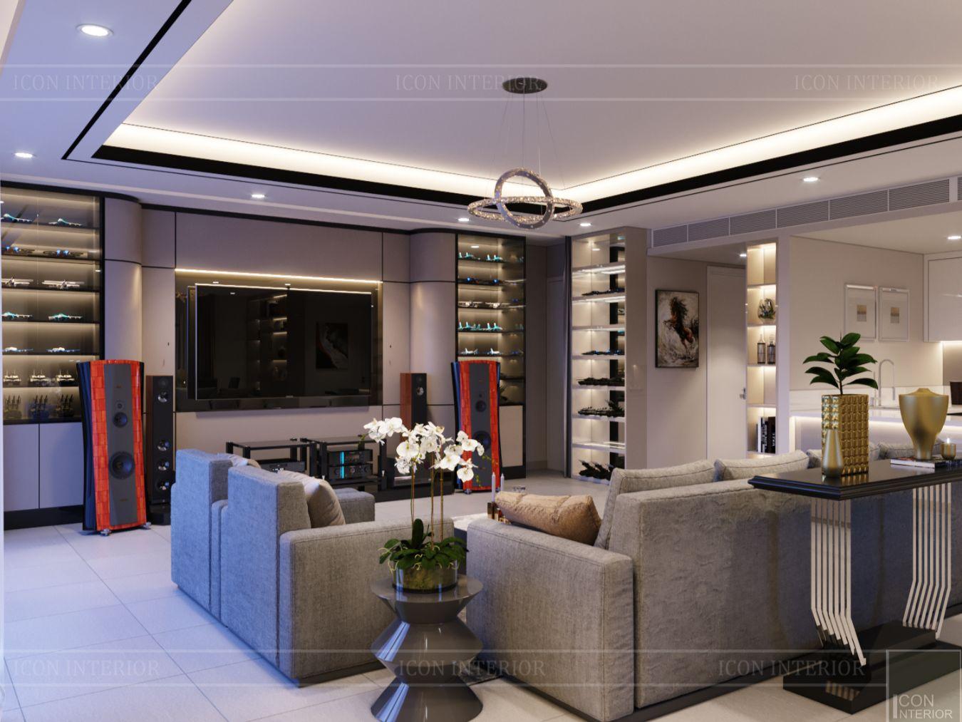 thiết kế nội thất căn hộ diamond island - phòng khách