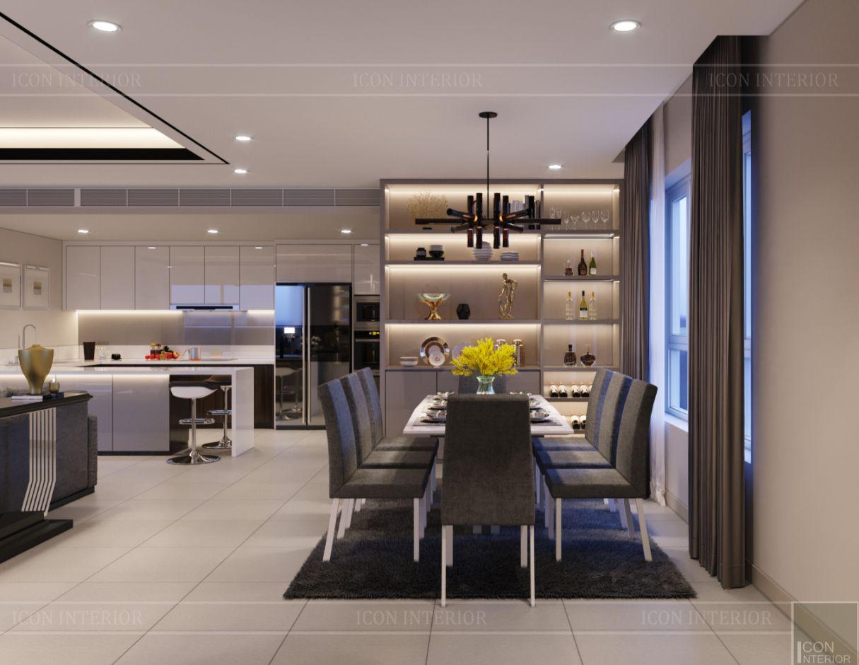 thiết kế nội thất căn hộ diamond island - phòng ăn