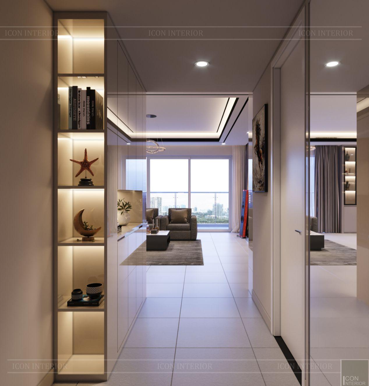 thiết kế nội thất căn hộ diamond island - phòng khách 3