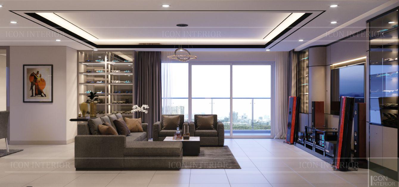 thiết kế nội thất căn hộ diamond island - phòng khách 2