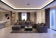 thiết kế nội thất căn hộ diamond island - phòng khách 1