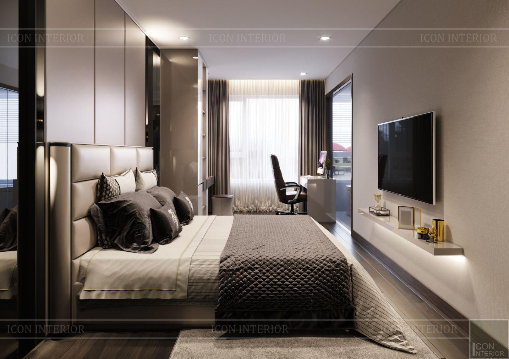 thiết kế nội thất căn hộ diamond island - phòng ngủ master 1