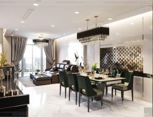 thiết kế nội thất nhà hiện đại - phòng khách bếp 1