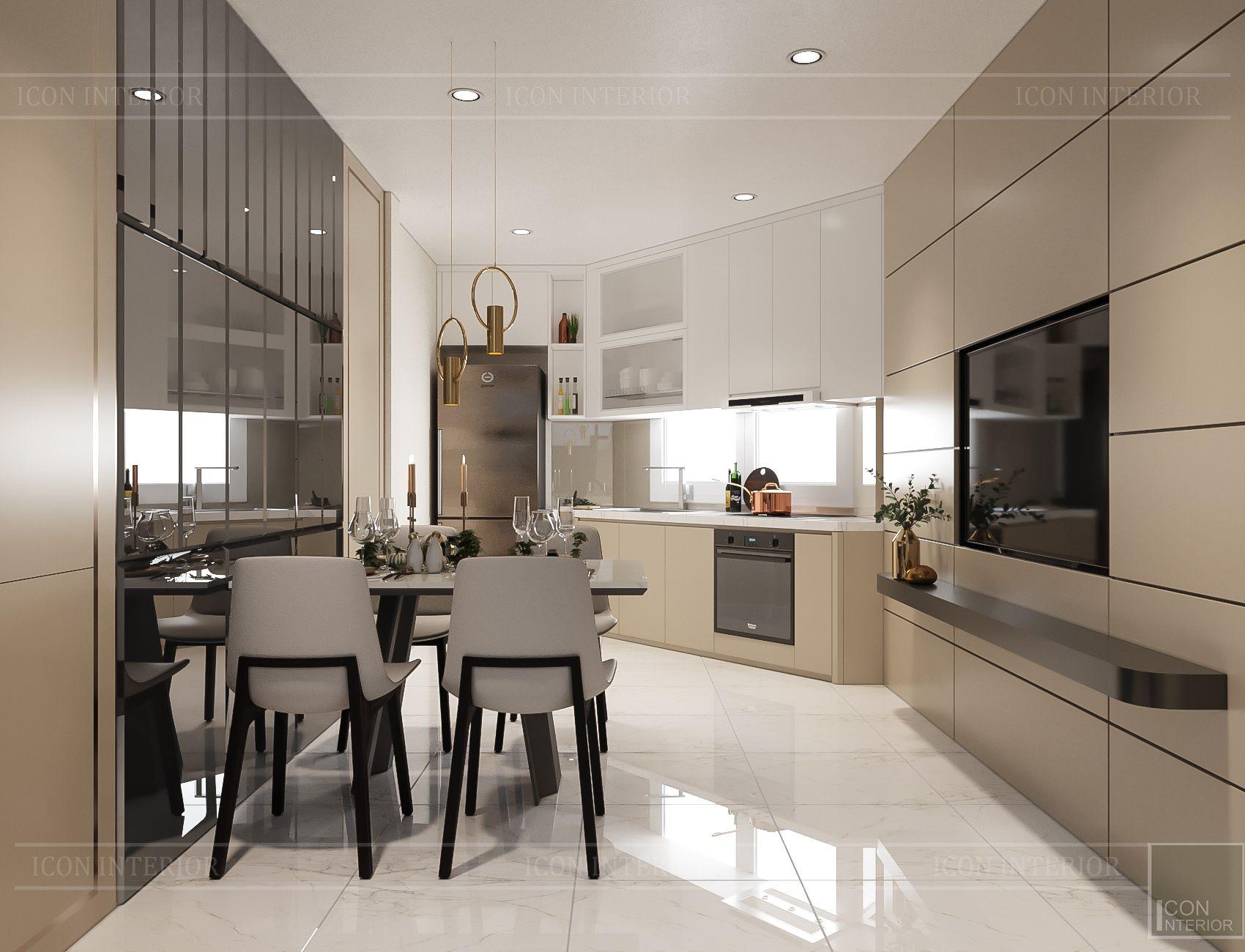 thiết kế nội thất nhà phố hiện đại - phòng bếp 2