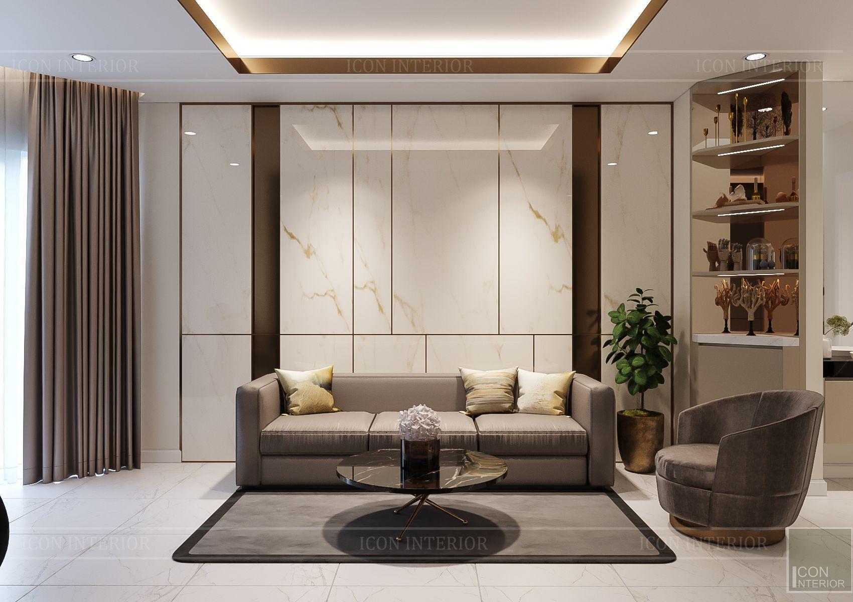 thiết kế nội thất nhà phố hiện đại - phòng khách 2