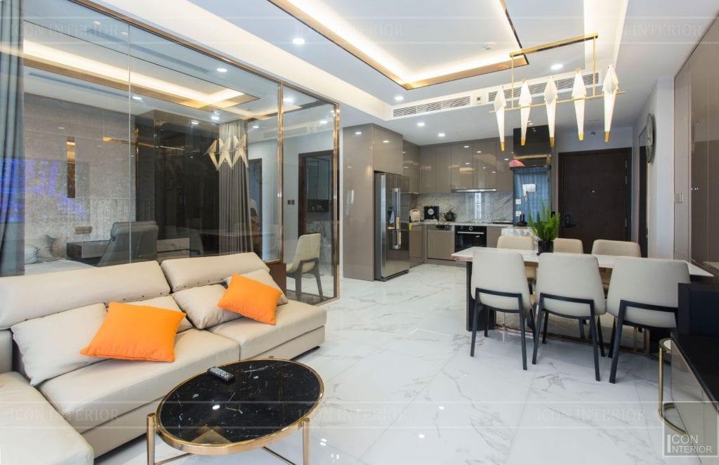 thi công căn hộ sunrise cityview - phòng khách bếp 1